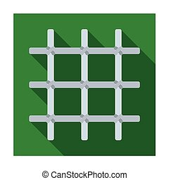 Lattice in the cell of the prisoner. A metal door to hold criminals.Prison single icon in flat style vector symbol stock illustration.