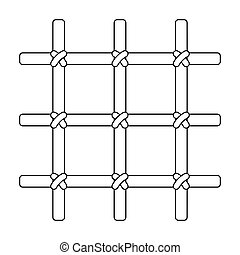 Lattice in the cell of the prisoner. A metal door to hold criminals.Prison single icon in outline style vector symbol stock illustration.