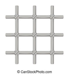 Lattice in the cell of the prisoner. A metal door to hold criminals.Prison single icon in monochrome style vector symbol stock illustration.