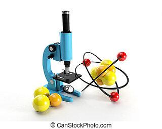 lattice., jaderný, bádat, illustration:, mikroskop, 3, objev