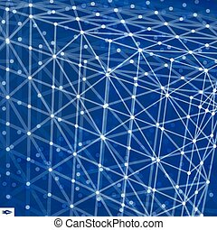 Lattice Structure. Science or Technology Background. Graphic Design. 3D Grid Surface. Abstract Vector Illustration.