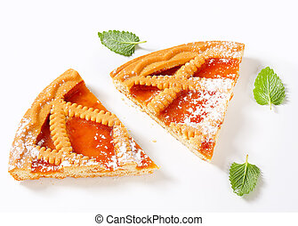 Lattice topped apricot tart - Slices of Linzer apricot tart