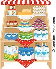 latticini, negozio, mensole