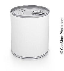 lattina, con, vuoto, bianco, etichetta, isolato, su, white.