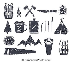 lattina, fiammiferi, albero, zaino, monocromatico, others., ...