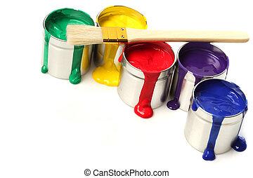 lattine vernice, pennello