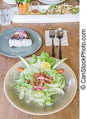 lattuga, fish, mescolare, salsa