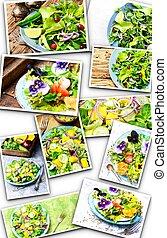 lattuga, insalata, collage