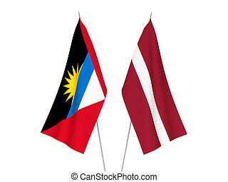 Latvia and Antigua and Barbuda flags - National fabric flags...