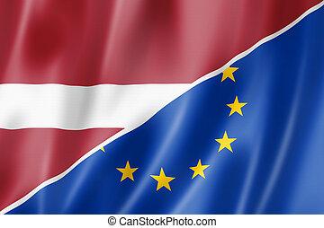 Latvia and Europe flag - Mixed Latvian and european Union ...