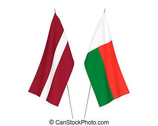 Latvia and Madagascar flags - National fabric flags of ...