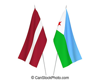 National fabric flags of Latvia and Republic of Djibouti isolated on white background. 3d rendering illustration.
