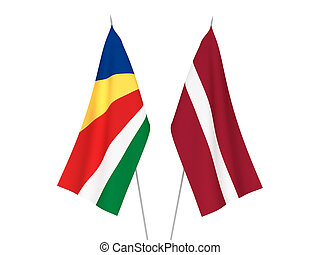 Latvia and Seychelles flags - National fabric flags of ...