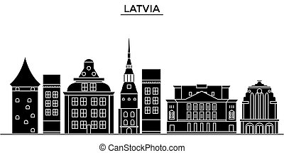 Latvia architecture vector city skyline, travel cityscape with landmarks, buildings, isolated sights on background