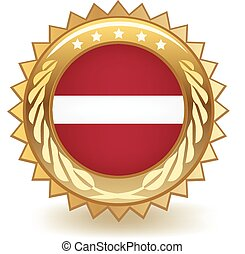 Latvia Badge - Gold badge with the flag of Latvia.