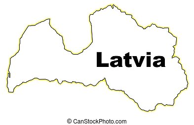 Latvia - Outline map of LAtvia over a white background