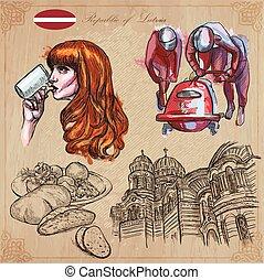 latvia., collection., freehand, art., mano, dibujado, línea, vectors.