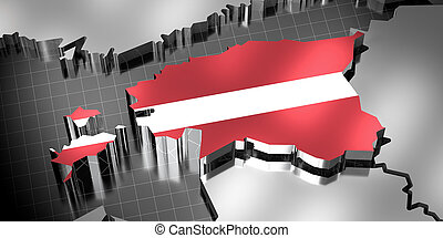 Latvia - country borders and flag - 3D illustration