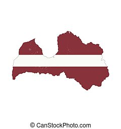 Latvia country silhouette with flag on background, isolated...