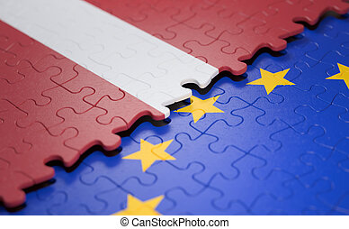 Latvia European Union Puzzle Flag