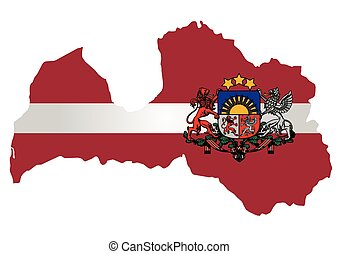 Latvia Flag - Flag and coat of arms of the Republic of...