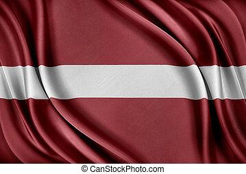 Latvia flag. Flag with a glossy silk texture. - Latvia flag....
