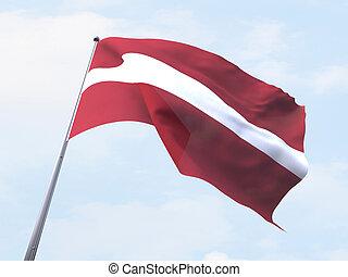 Latvia flag flying on clear sky.