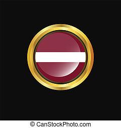 Latvia flag Golden button
