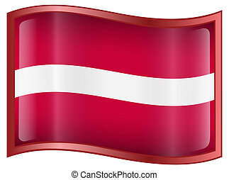 Latvia Flag icon, isolated on white background.