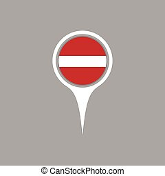 Latvia flag location map icon ,  Vector illustration.