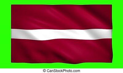 Latvia flag on green screen for chroma key