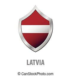 Latvia flag on metal shiny shield vector illustration.