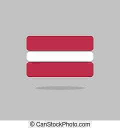 Latvia flag. Stylized Latvian flag of geometrical elements. Vector illustration