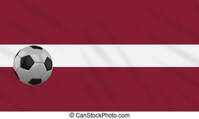 Latvia flag waving and football rotates, loop