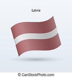 Latvia flag waving form. Vector illustration.