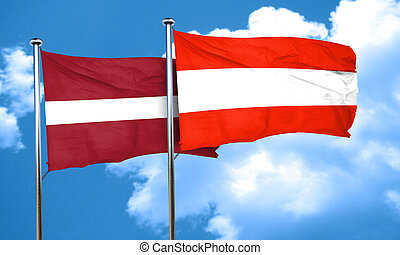 Latvia flag with Austria flag, 3D rendering