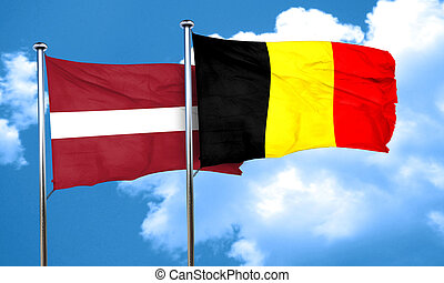 Latvia flag with Belgium flag, 3D rendering