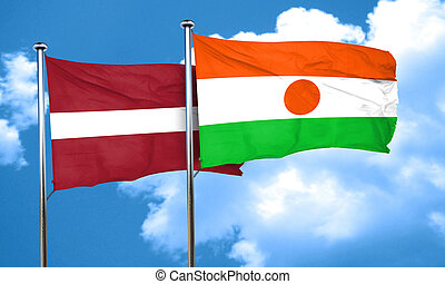 Latvia flag with Niger flag, 3D rendering