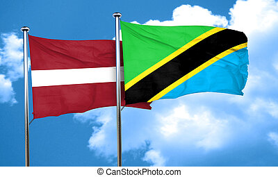 Latvia flag with Tanzania flag, 3D rendering