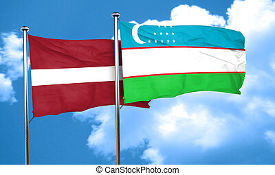 Latvia flag with Uzbekistan flag, 3D rendering