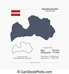 latvia - Republic of Latvia isolated maps and official flag...
