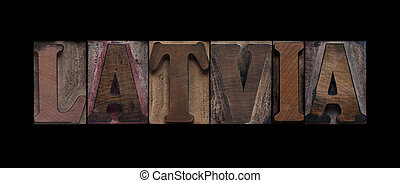 Latvia in old wood type