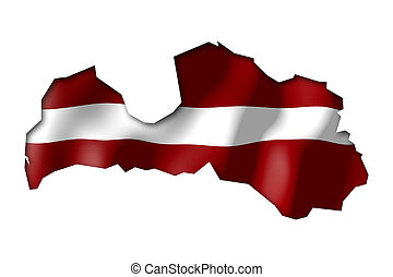 Latvia - map and flag illustration.