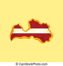 Latvia - Map colored with Latvian flag
