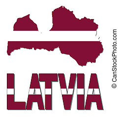 Latvia map flag and text
