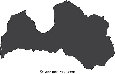 Latvia map in black on a white background. Vector illustration