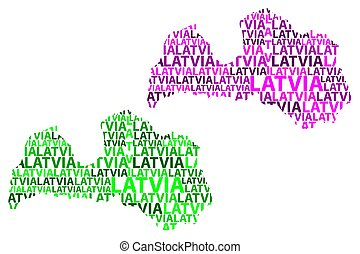 Latvia map - Sketch Latvia letter text map, Republic of...