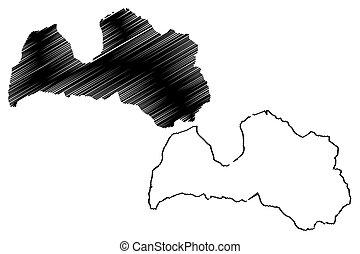 Latvia map vector illustration, scribble sketch Latvia