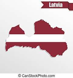 Latvia map with flag inside and ribbon