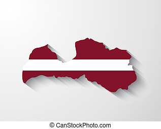 Latvia map with shadow effect